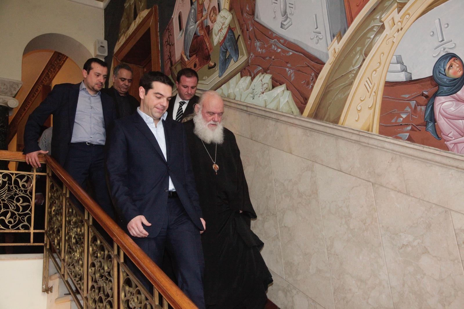 Ο νέος πρωθυπουργός Αλέξης Τσίπρας επισκέφθηκε τον Αρχιεπίσκοπο